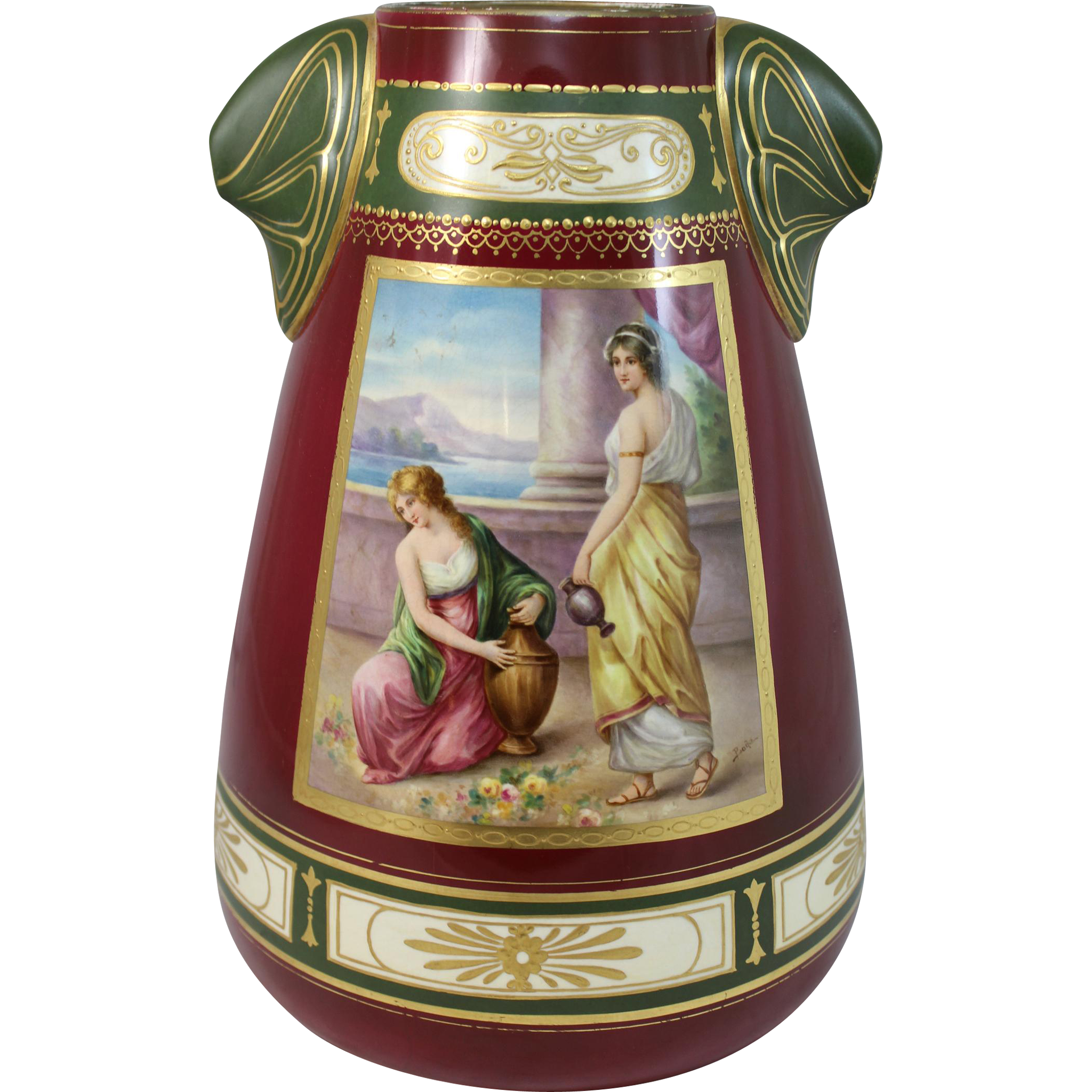 Royal Bonn Porcelain Vase with Hand Painted Classical Scene Signed Bode,  circa 1900