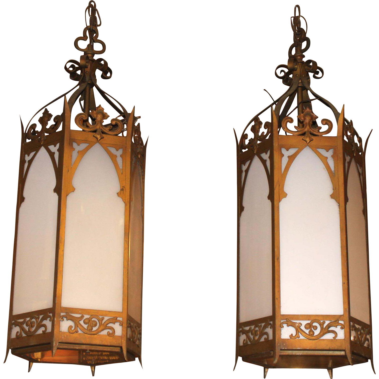 Pair of Hexagonal Iron Gothic Hanging Chandeliers or Lanterns