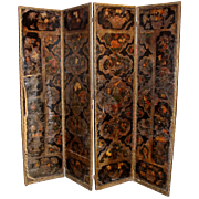 17th / 18th Century Leather Polychrome Four Panel Floor Screen