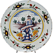 18th Century Polychrome Delftware Charger