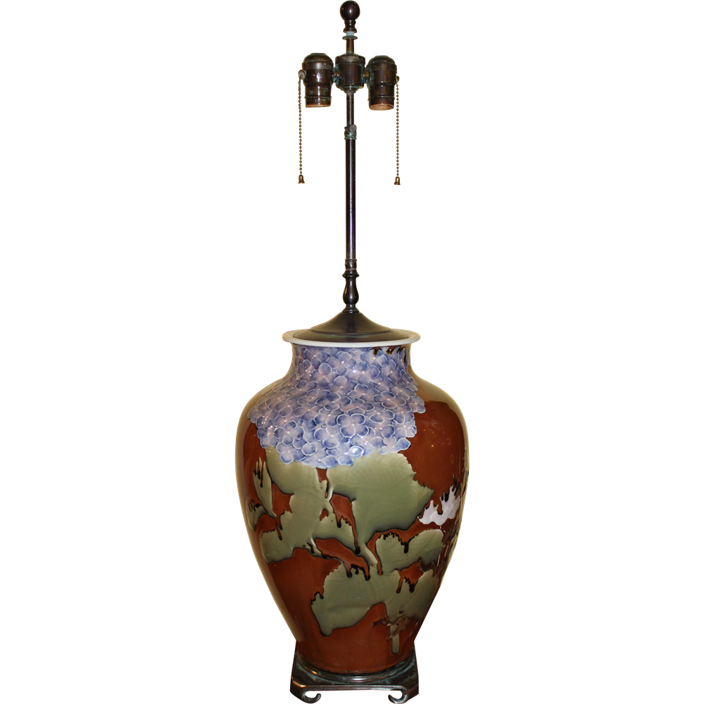 Japanese Studio Vase Lamp with Floral Decoration