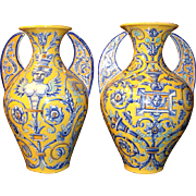 Pair of Large 20th Century Colorful Faience Handled Vases
