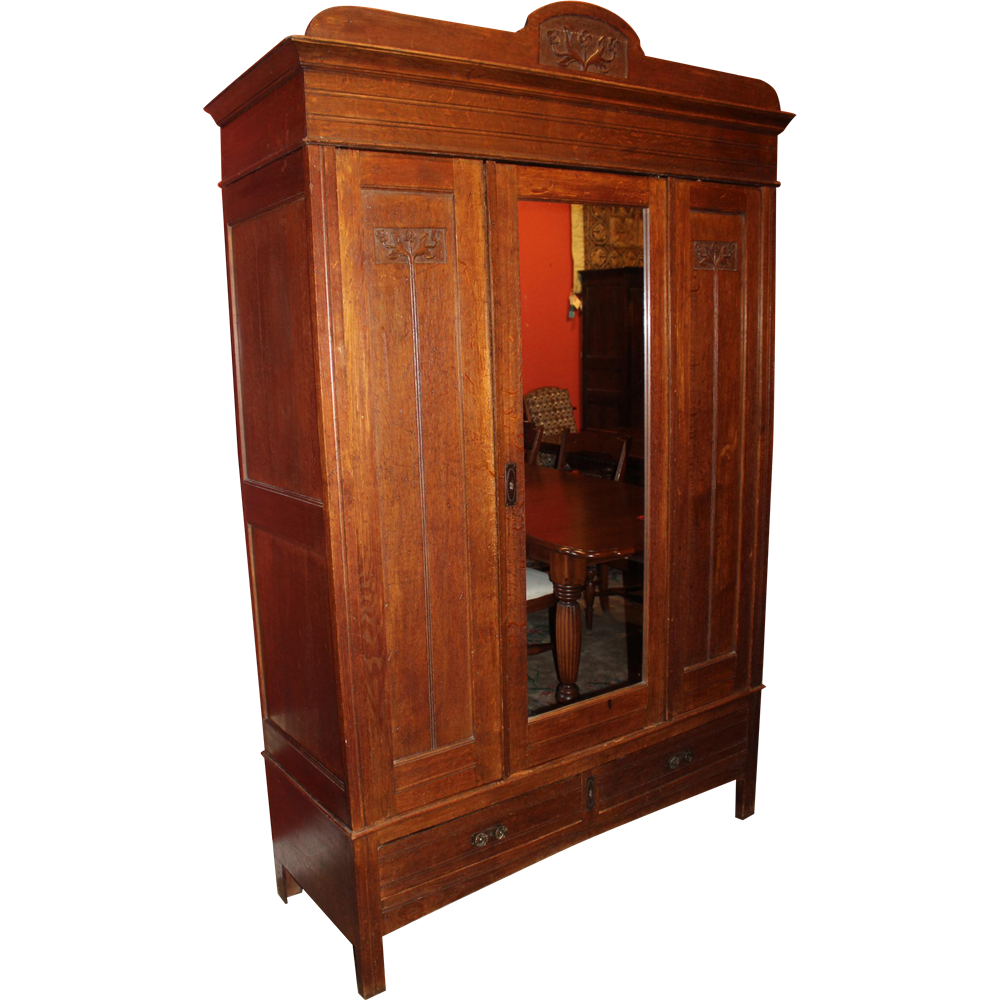 Mirrored Belgian Oak Armoire with Foliate Carving