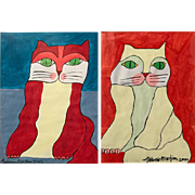 Aldemir Martins Pair of Watercolor Paintings of Whimsical Cats