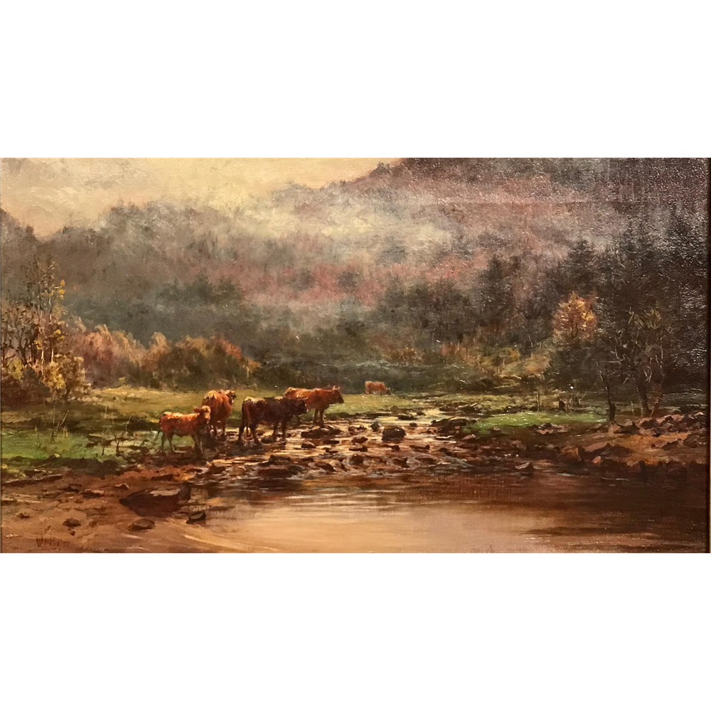 William Preston Phelps Landscape Oil Painting of Cattle Crossing The Brook