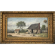 William Aiken Walker Oil Painting of a Southern Cabin Scene