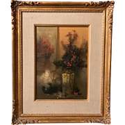 Tom Nicholas Oil Painting Still Life - Satsumi and Dried Flowers