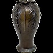 Japanese Bronze Vase in Leaf Motif circa 1890