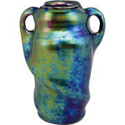 Heliosine Iridescent Handled Art Nouveau Style Vase