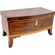 Mahogany Federal Hepplewhite Inlaid Bow Front Dresser Box