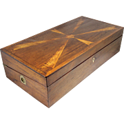 19th Century Mahogany Desk Box with Feathered Birch Inlay, Possibly Portsmouth NH