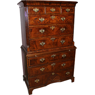 18th Century George II Burled Walnut Chest on Chest with Brushing Slide