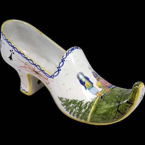 Quimper Polychrome Faience Shoe Planter / Vase
