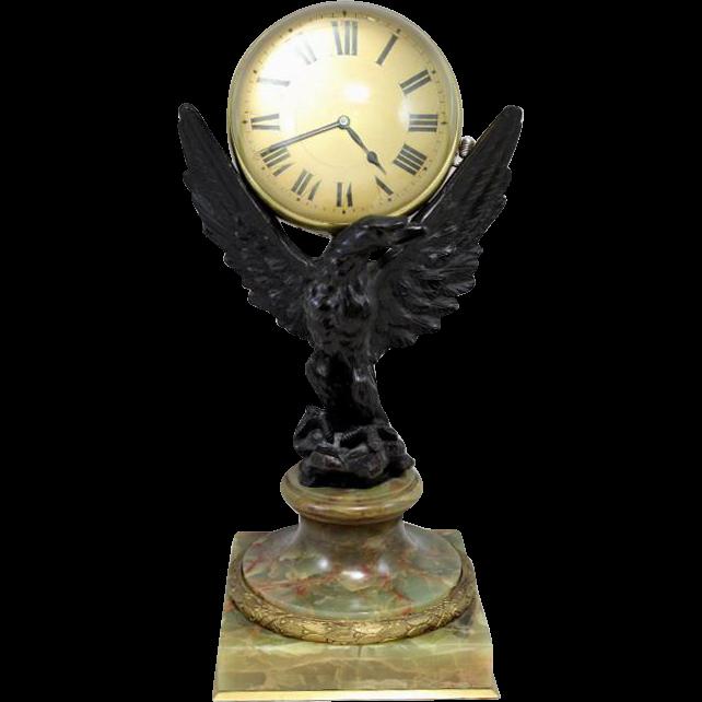 Rare 19th / 20th c  Cast Bronze Eagle Ball Clock