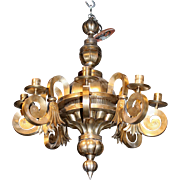 20th Century Mexican Glazed Tinware Chandelier