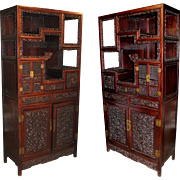Pair of Spectacular Carved Chinese Rosewood Etageres or Collectors Cabinets