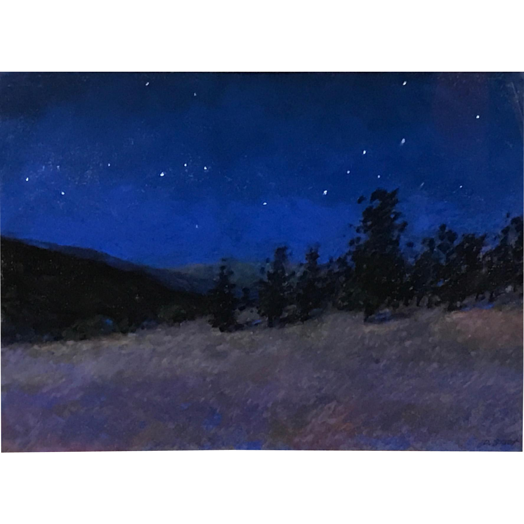 Dave Stout Pastel Painting- Full Moon in Glacier Park