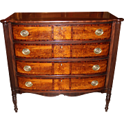 Federal Sheraton Bow Front Four Drawer Chest,  Portsmouth NH