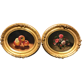 Pair of 19th Century Oval Oil Paintings - Still Lifes of Apples, Flowers