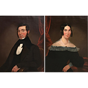 Pair of 19th Century Oil Painting Portraits, Mr. & Mrs. Battelle, Cambridgeport MA