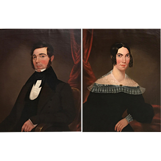 Pair of 19th Century Oil Painting Portraits, Mr. & Mrs. Battelle, Cambridgeport MA
