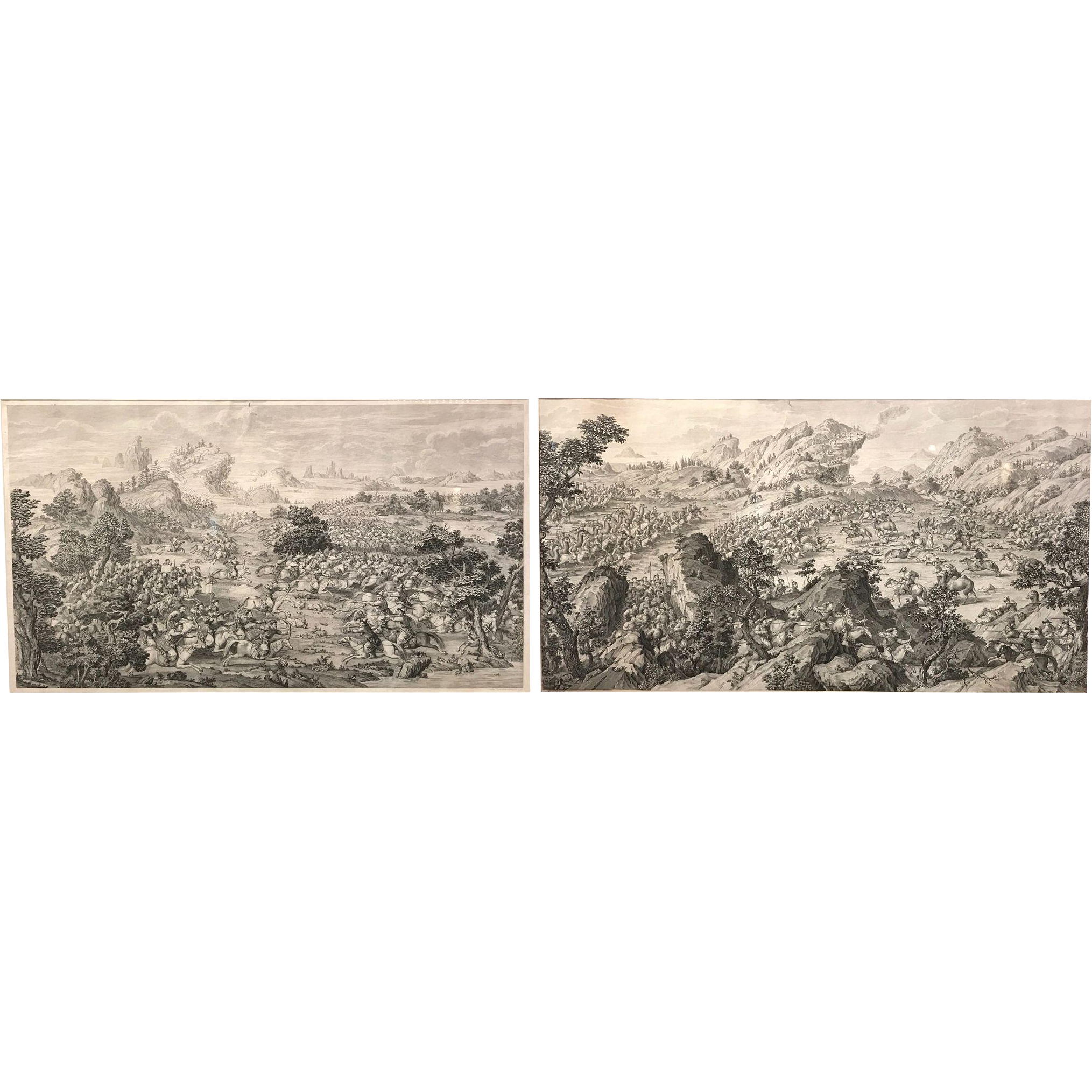 Two 18th Century Engravings of the Conquests of The Emperor Qianlong by Attiret