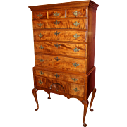 Queen Anne Two Part Tiger Maple Highboy, Probably NH