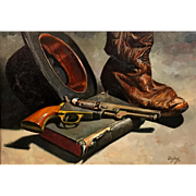 Don Doxey Oil Painting Old West Still Life - Bible, Boot & Bowler