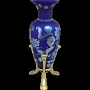 Fenton Art Glass Manuscript Floral Favrene Amphora Vase #512
