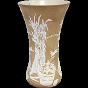 Fenton Art Glass Chocolate Glass Cut Back Vase, McGregor's Harvest 15/350