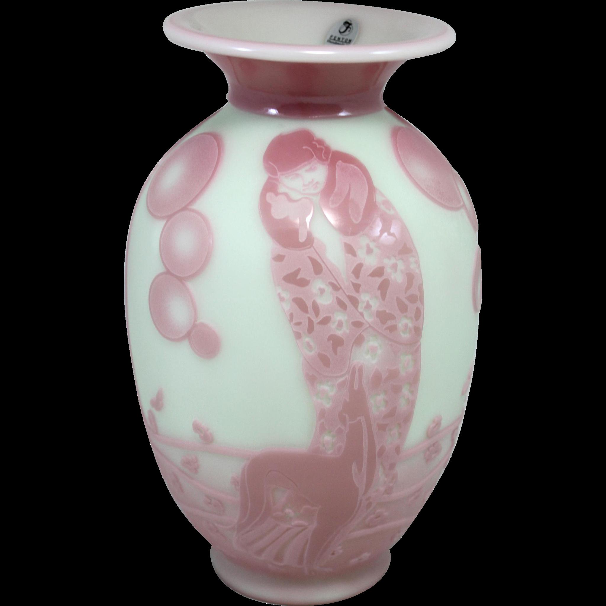 Fenton Art Glass Sand Carved Lotus Mist Burmese Vase - Dog & Dame 33/325