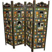 Four Panel Polychrome Handpainted Indian Dressing Screen