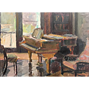 Charlotte Blass Oil Painting of the Edward MacDowell Parlour Room with Grand Piano