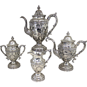 19th c William Gale & Son NY Four Piece Coin Silver Tea Service