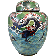 Large 19th Century Chinese Cloisonné Covered Jar or Urn with Sea Serpent