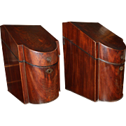 Pair of 18th / 19th c Georgian Mahogany Cutlery or Knife Boxes
