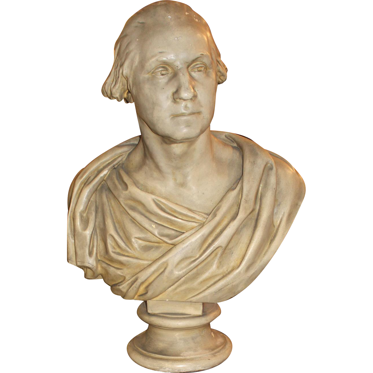 Early 20th Century Plaster Bust of George Washington with Later Pedestal