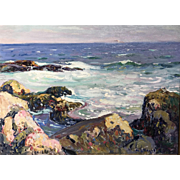 George Loftus Noyes Coastal Oil Painting of Summer Rocks