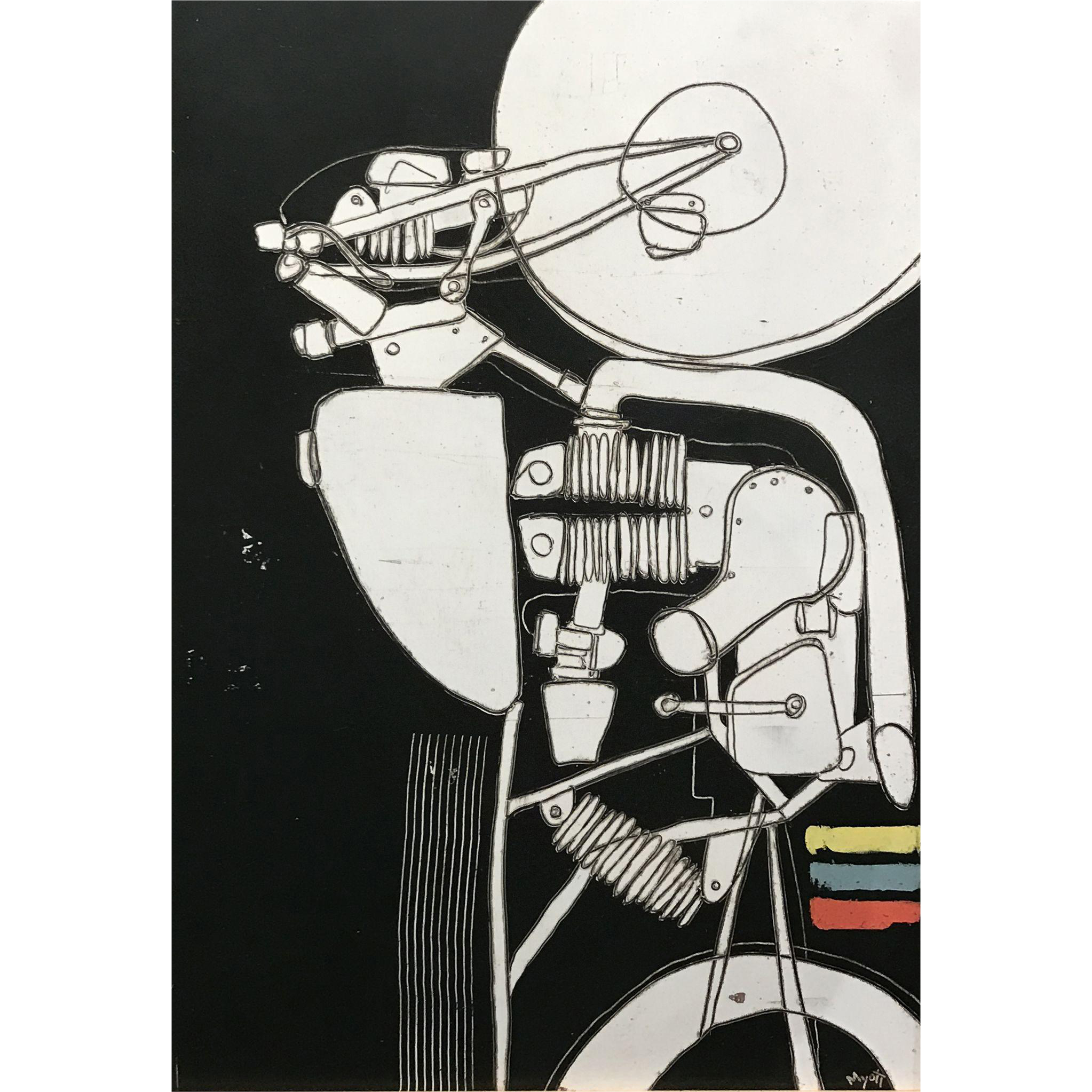 Christopher Myott Modernist Motorcycle Oil Painting - Leaf