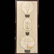 Christopher Myott Modernist Oil Painting - Lightbulbs