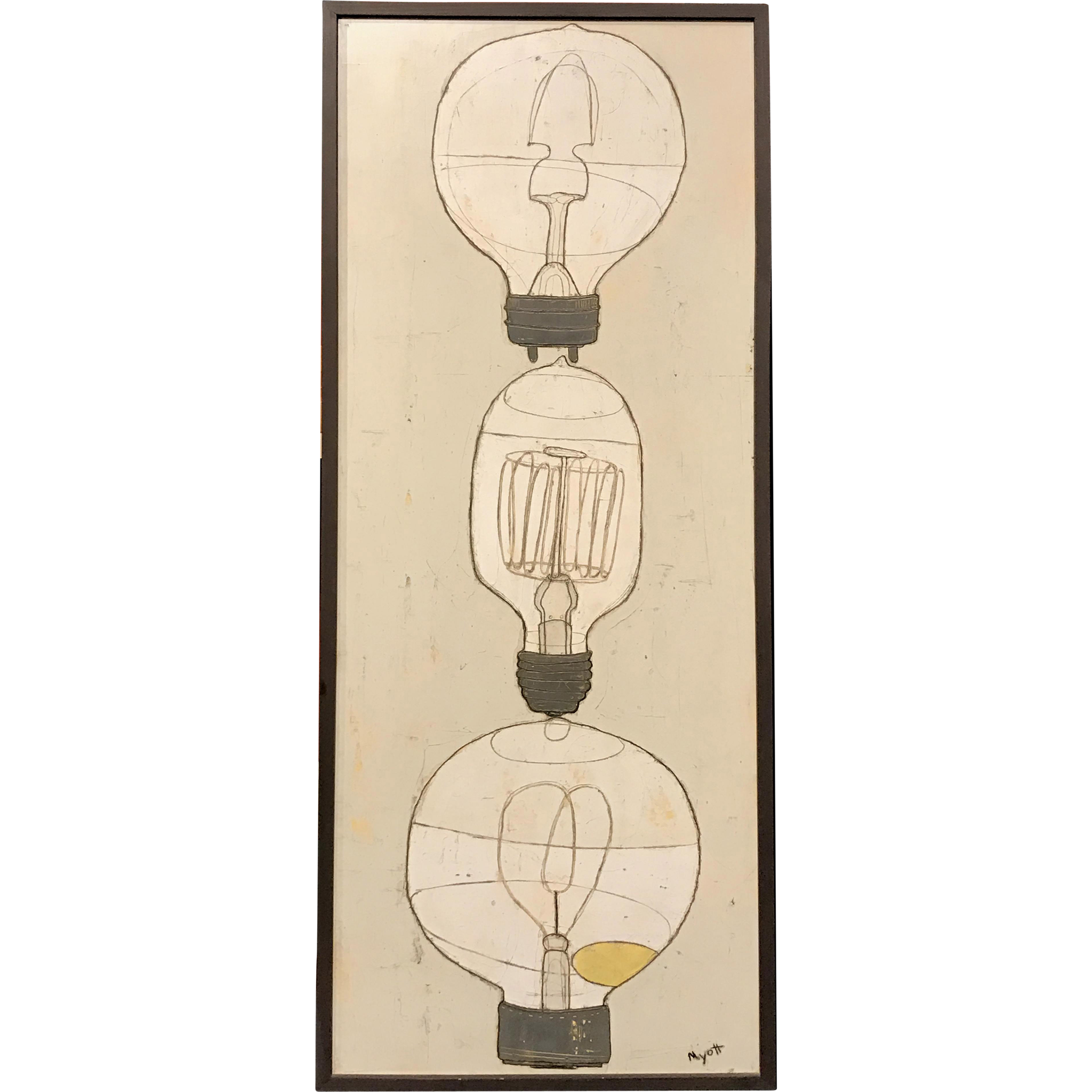 Christopher Myott Modernist Oil Painting - Lightbulbs