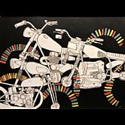 Christopher Myott Modernist Motorcycle Oil Painting - Pigpile