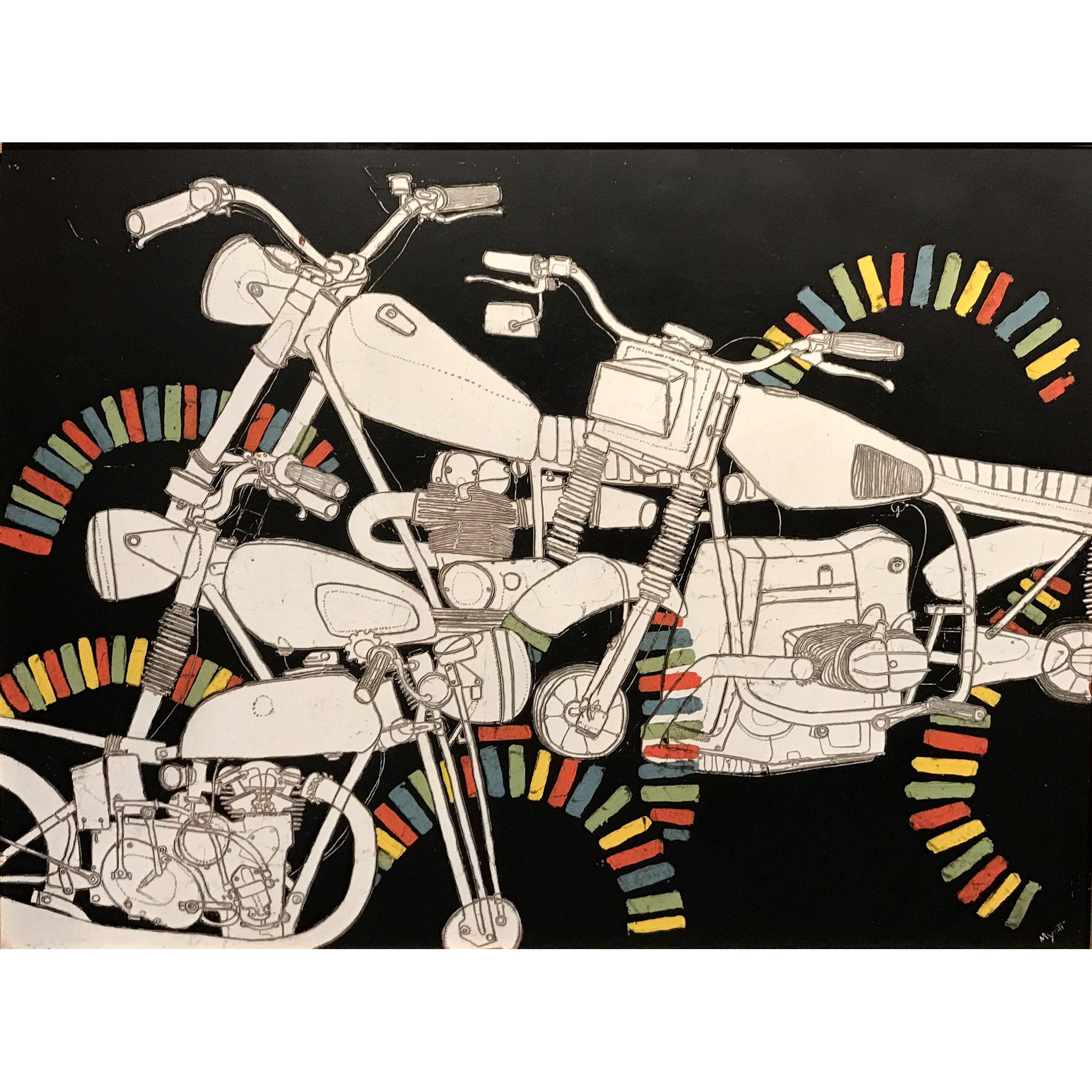Christopher Myott Modernist Motorcycle Oil Painting - Pigpile