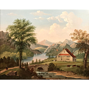19th c American School Oil Painting of George Washington's Headquarters, Newburgh,NY