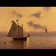 William R. Davis Marine Oil Painting - Pilot Schooner Off Minot's Light