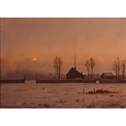 William R. Davis Luminist Oil Painting - January Morning