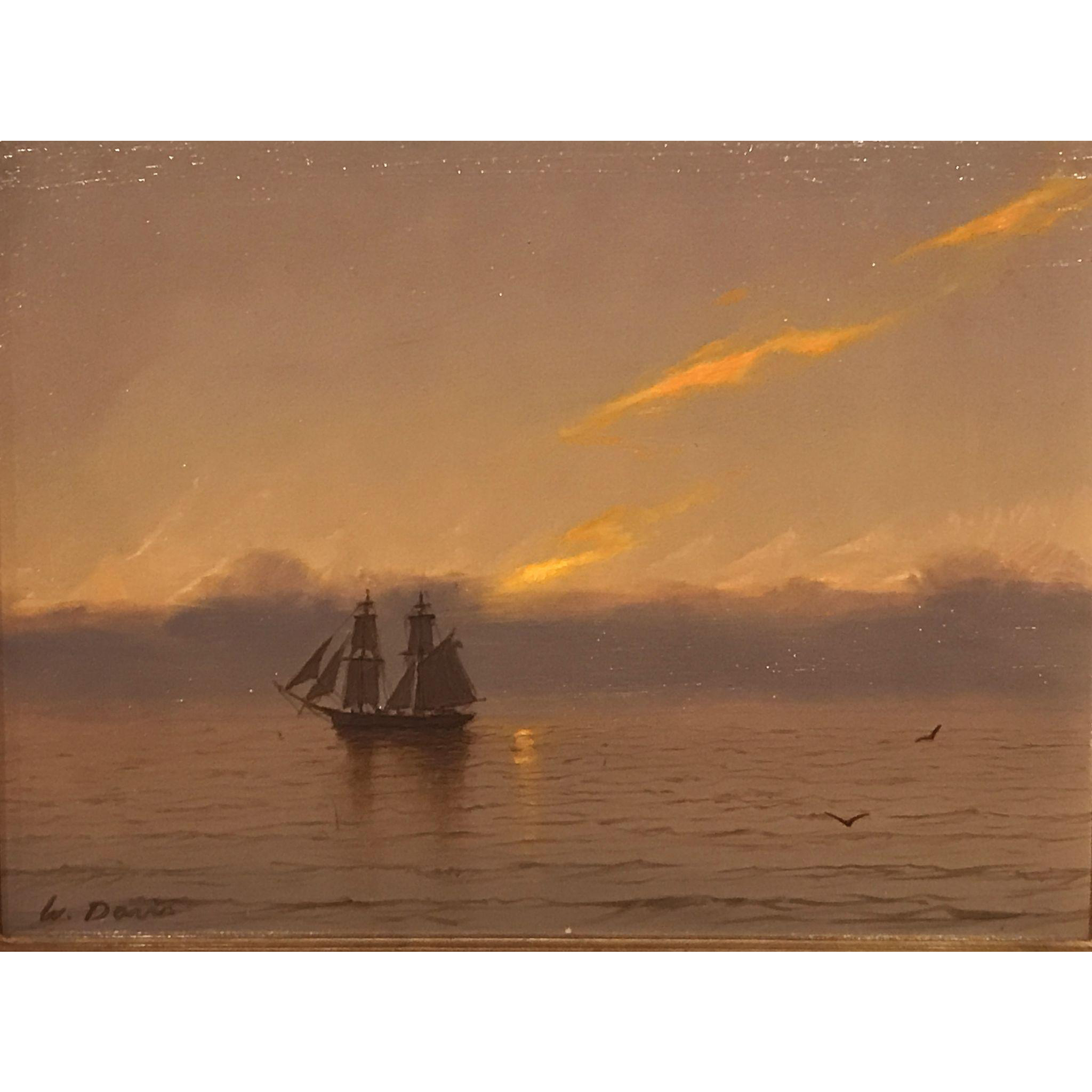 William R. Davis Marine Oil Painting - Brig at Sunset