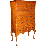 18th c New England Tiger Maple Highboy