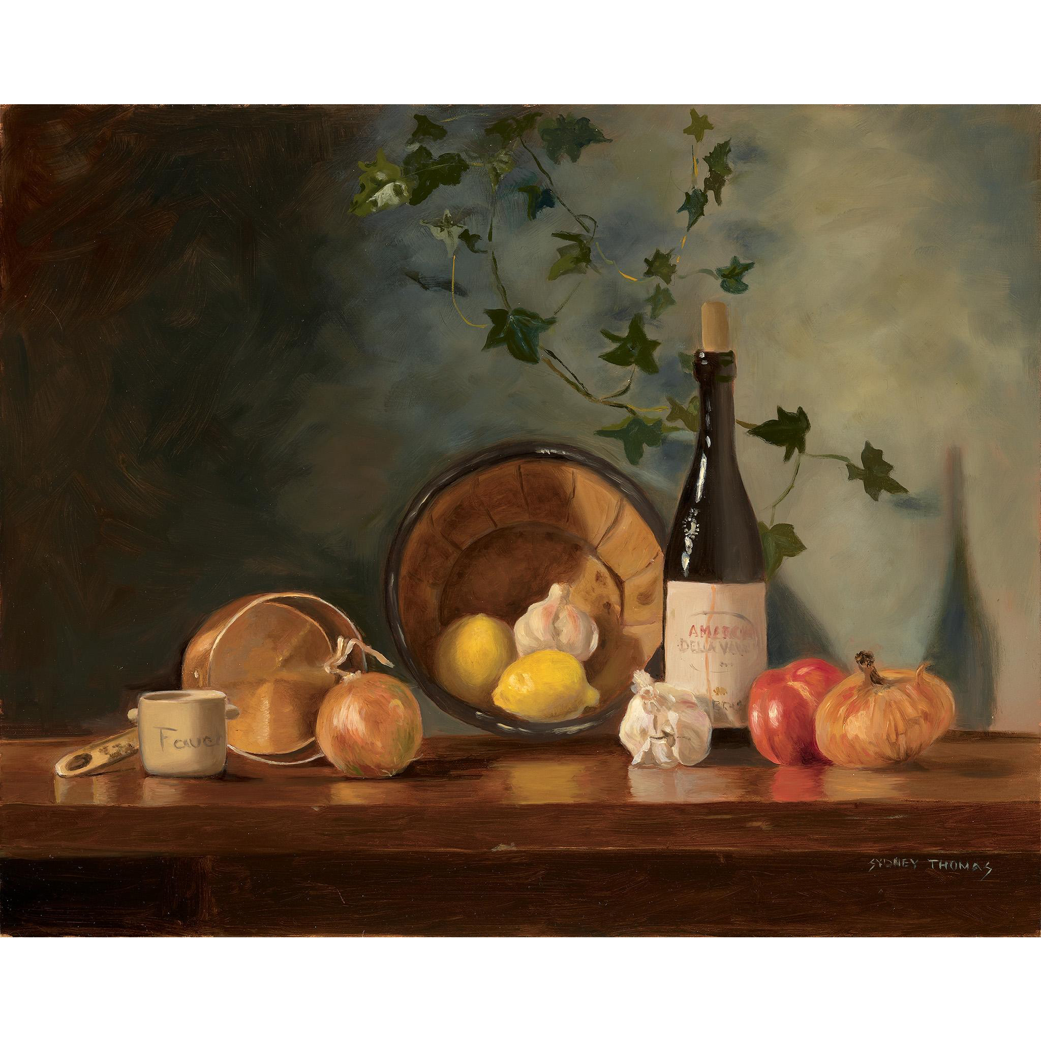 Sydney Thomas Oil Painting - Still Life with Onions and Red Wine