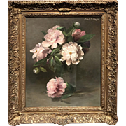 Abbott Handerson Thayer Oil Painting Still Life of Peonies in Glass Vase